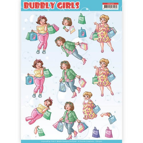 3D Knipvel - Yvonne Creations- Bubbly Girls - Shopping
