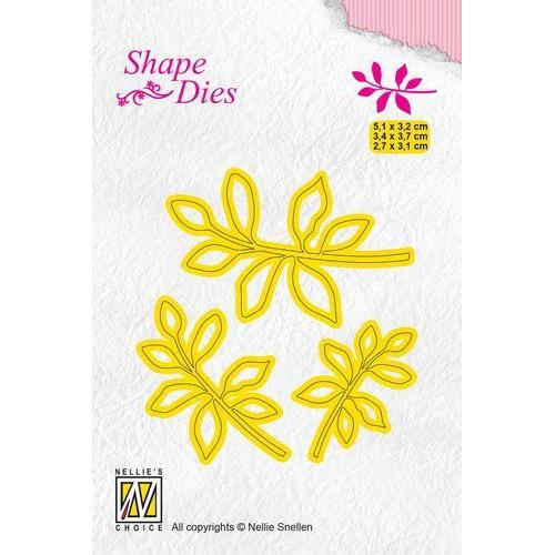 Nellies Choice Shape Die - blad 4 SD164 5,1x3,2+3,4x3,7+ 2,7x3,1cm (05-19)