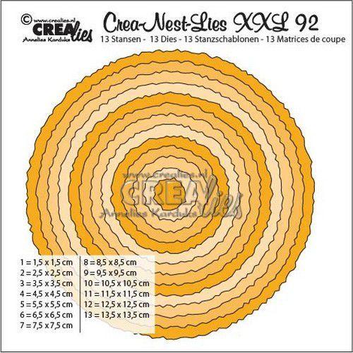 Crealies Crea-Nest-Lies XXL no 92 Cirkels met ruwe randen CLNestXXL92 135 x 135mm (04-19)