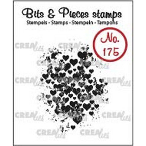 Crealies Clearstamp Bits & Pieces grunge hartjes CLBP175 32 x 43mm (04-19)