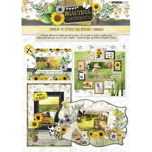 Studio Light Die cut blocs A4 12 vel Beautiful Sunflowers nr 79 STANSBLOKSL79 (05-19)