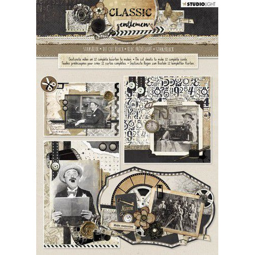 Studio Light Die cut blocs A4 12 vel Classic Gentlemen nr 80 STANSBLOKSL80 (05-19)