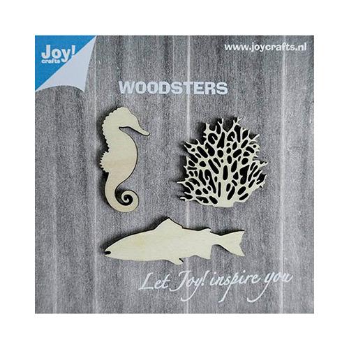 Woodsters Houten figuren - Zeepaard- koraal- groot vis
