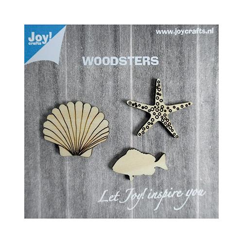 Woodsters Houten figuren - Zeester- schelp- vis