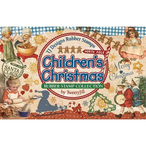 Rubber Stamp Set-Children`s Christmas