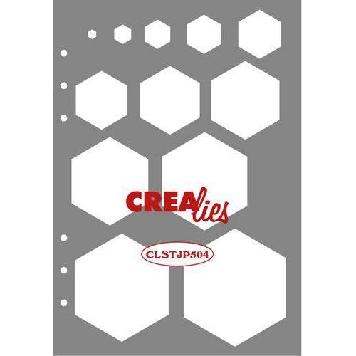 Crealies Journalzz & Pl Stencil decoratie zeshoeken CLSTJP504 14,5 x 20,8 cm (05-19)
