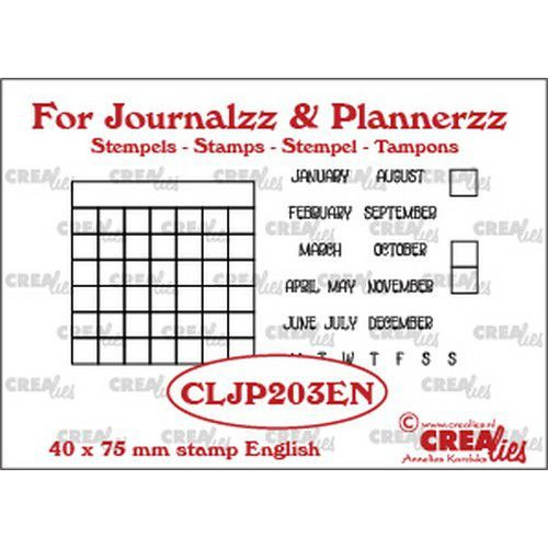 Crealies Journalzz & Pl Stempels maandtracker EN CLJP203EN 40 x 75 mm (05-19)