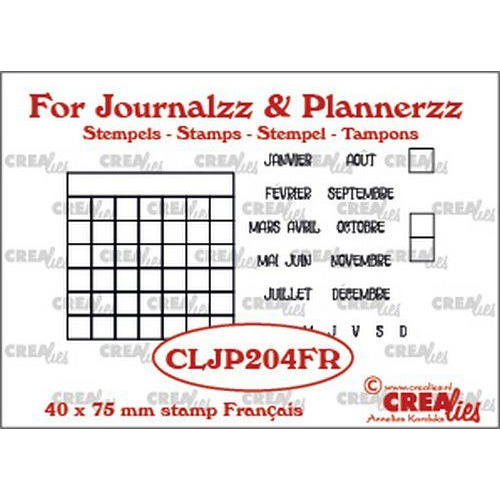 Crealies Journalzz & Pl Stempels maandtracker FR CLJP204FR 40 x 75 mm (05-19)