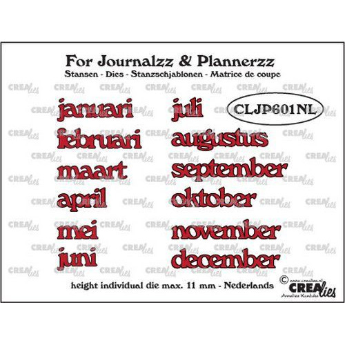 Crealies Journalzz & Pl Stansen maanden NL CLJP601NL max. height: 11 mm (05-19)