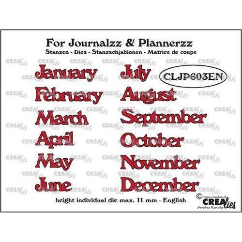 Crealies Journalzz & Pl Stansen maanden EN CLJP603EN max. height: 11 mm (05-19)