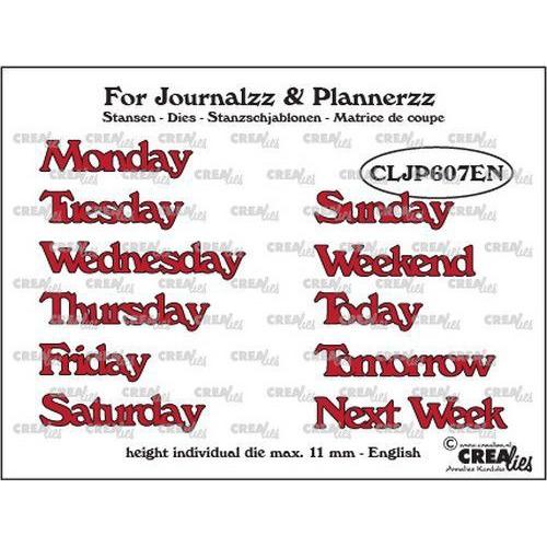 Crealies Journalzz & Pl Stansen weekdagen EN CLJP607EN max. height: 11 mm (05-19)
