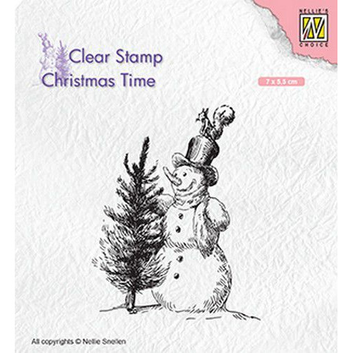 Nellies Choice Clearstempel - Christmas time sneeuwpop met boom CT029 70x55mm (05-19)