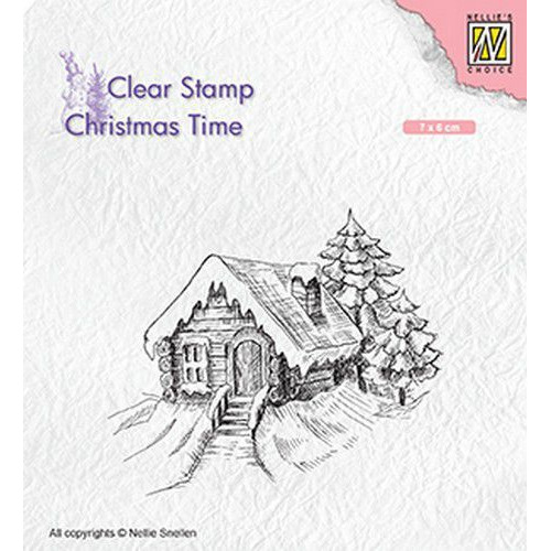 Nellies Choice Clearstempel - Christmas time Cosily snowy cottage CT030 70x60mm (05-19)