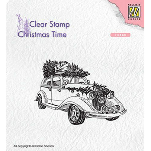 Nellies Choice Clearstempel - Christmas time kerstboom op oldtimer CT031 70x50mm (05-19)