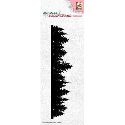 Nellies Choice Christmas Silhouette Clear stamps rand kerstbomen CSIL005 150x35mm (05-19)