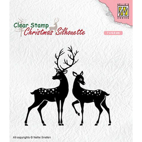 Nellies Choice Christmas Silhouette Clear stamps rendieren CSIL006 70x65mm (05-19)