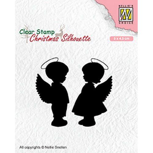 Nellies Choice Christmas Silhouette Clear stamps engelen jongen, meisje CSIL008 50x45mm (05-19)