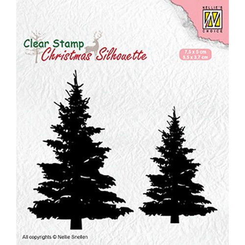 Nellies Choice Christmas Silhouette Clear stamps dennenbomen CSIL009 75x50 mm & 55x37mm (05-19)