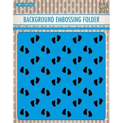 Nellies Choice Emb.folder Achtergrond babyvoetjes 2 EEB018 150x150mm (06-19)