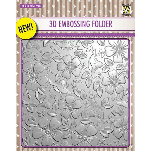 Nellies Choice 3D Emb. folder bloemen 3 EF3D003 152x152mm (06-19)