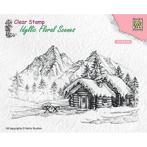 Nellies Choice clearstamp - Idyllic Floral Scenes landschap met cottage IFS015 140x83mm (06-19)