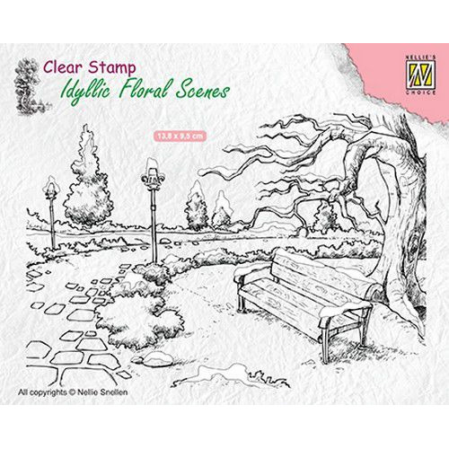 Nellies Choice clearstamp - Idyllic Floral Scenes park met bankje IFS016 138x95mm (06-19)
