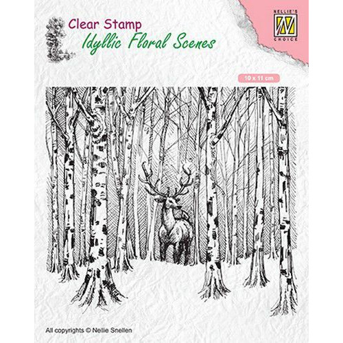Nellies Choice clearstamp - Idyllic Floral Scenes Hert in het bos IFS017 100x110mm (06-19)