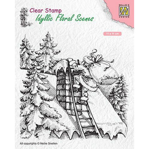 Nellies Choice clearstamp - Idyllic Floral Scenes Santa at work IFS018 110x110mm (06-19)