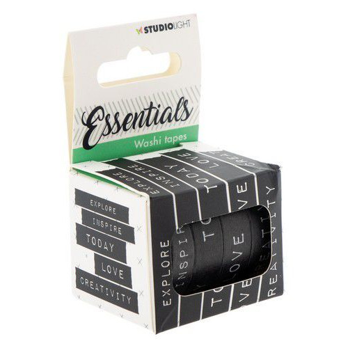 Studio Light Washi tape 5 rls tekst black & white Essentials nr.02 WASHISL02 (06-19)