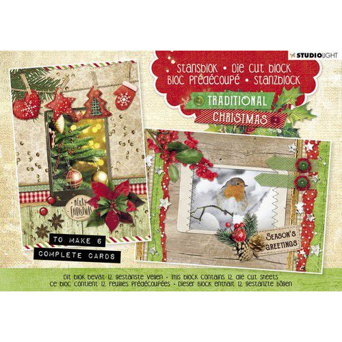 Studio Light Die cut blocs A5 12 vel Traditional Christmas nr. 25 A5STANSBLOKSL25 (06-19)