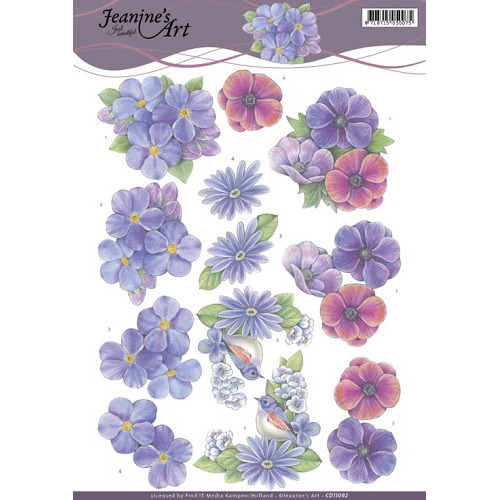3D Knipvel - Jeanines Art - Purple Flowers