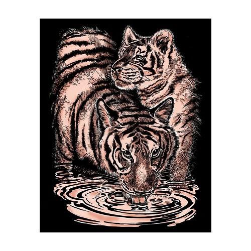 Sequin Art • Artfoil copper tiger & cub