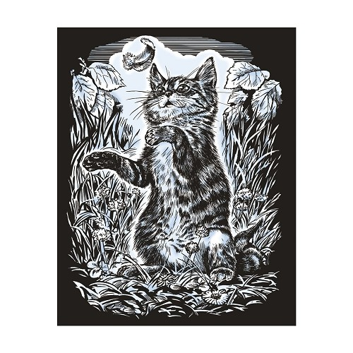 Sequin Art • Artfoil silver kitten