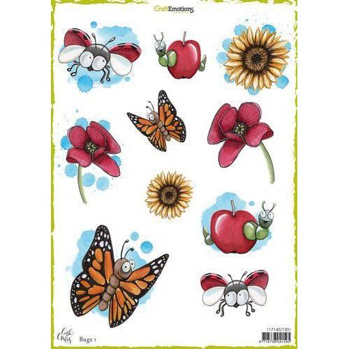 CraftEmotions Decoupage vellen Bugs 1 A4 170 grm Carla Creaties (06-19)