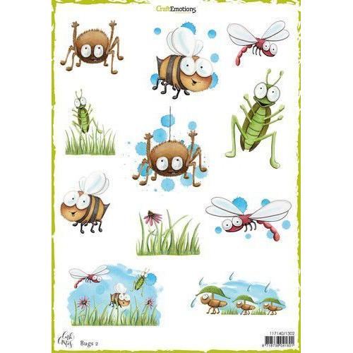 CraftEmotions Decoupage vellen Bugs 2 A4 170 grm Carla Creaties (06-19)