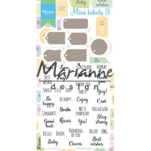 Marianne D Stamp & Die set Mini labels (Eng) CS1029 (07-19)