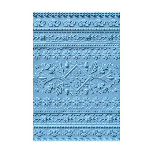Sizzix 3-D Textured Impressions Embossing Folder Folk Art Pattern 663613 Courtney Chilson (07-19)
