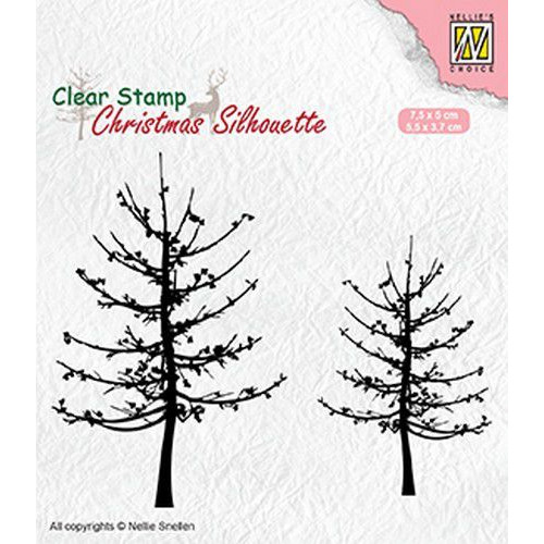 Nellies Choice Christmas Silhouette Clear stamps bomen zonder bladeren CSIL010 75x50mm & 55x37mm