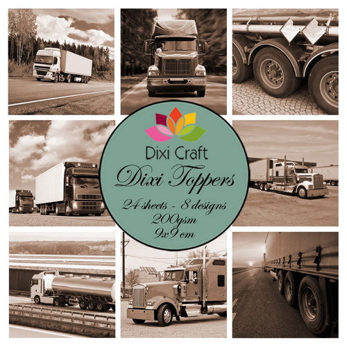 Mini toppers set 9x9 cm trucks sepia