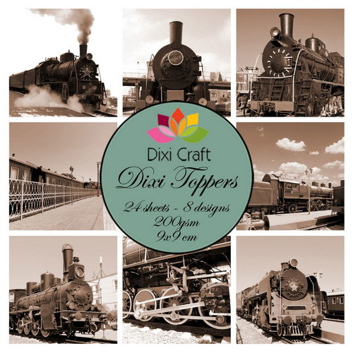 Mini toppers set 9x9 cm trains sepia