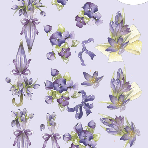 3D Knipvel - Precious Marieke - Flowers in Purple