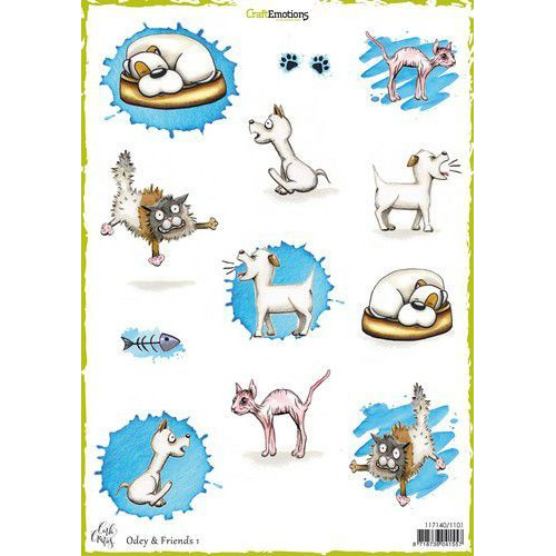 CraftEmotions Decoupage vellen Odey & Friends 1 A4 170 grm Carla Creaties (06-19)