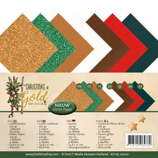 Linnenpakket - A5 - Amy Design - Christmas in Gold