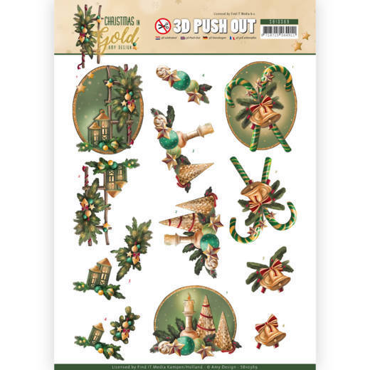 3D Pushout - Amy Design - Christmas in Gold - Lanterns in Gold