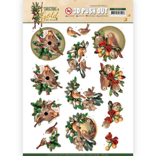 3D Pushout - Amy Design - Christmas in Gold - Birds in Gold