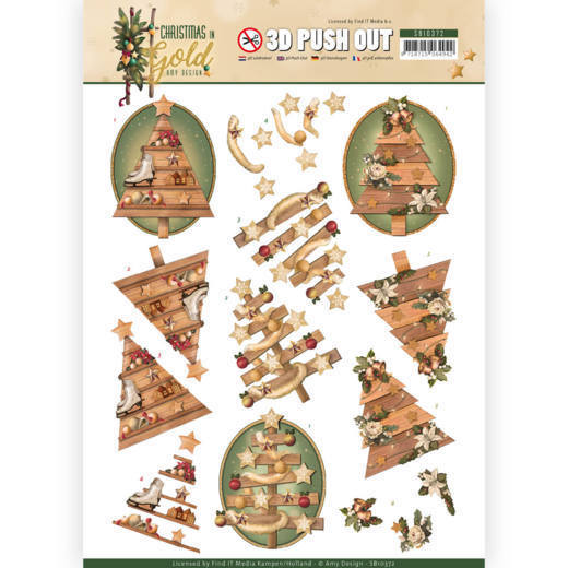3D Pushout - Amy Design - Christmas in Gold - Trees in Gold
