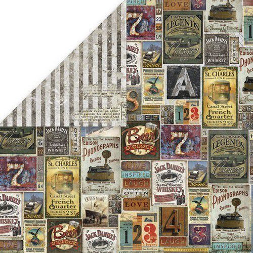 Craft&You Vintage Man Scrapbooking single paper 12x12 CP-VM05 (06-19)