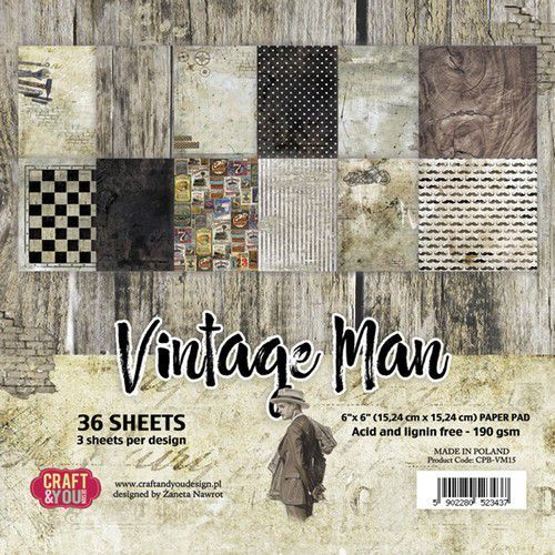 Craft&You Vintage Man Small Paper Pad 6x6 36 vel CPB-VM15 (06-19)