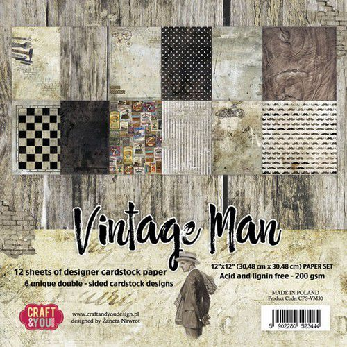 Craft&You Vintage Man BIG Paper Set 12x12 12 vel CPS-VM30 (06-19)