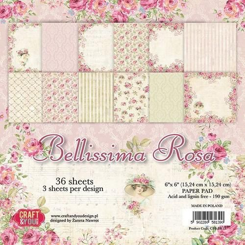 Craft&You Bellissima Rosa Small Paper Pad 6x6 36 vel CPB-BR15